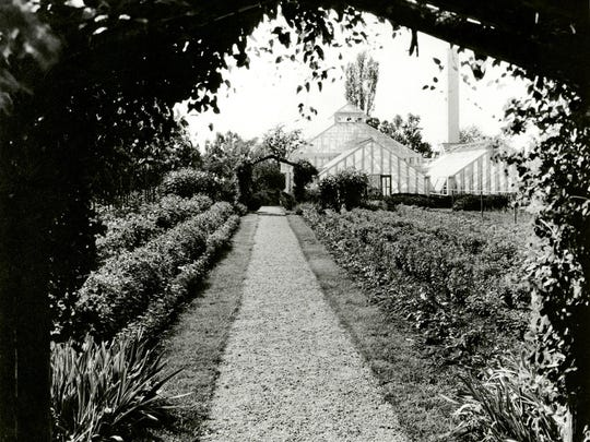 Greenhouses on the Oldfields estate, circa 1933.