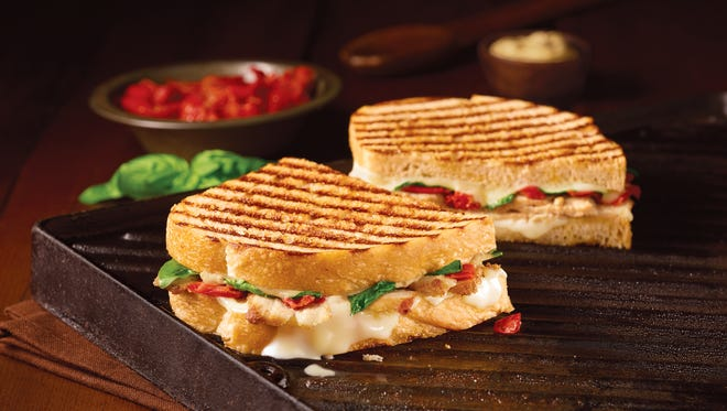 Corner Bakery Cafe features a menu of breakfast, sweets, paninis, pastas and salads. Shown here is the chicken pomodori panini.