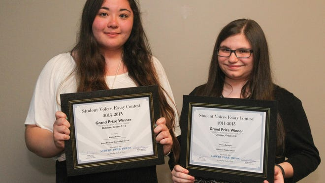 Top winners Kaitlyn Potter (left) of Point Pleasant Beach High School, and Bianca Battaglia of Millstone Middle School.