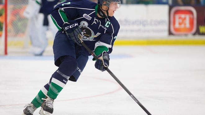 Back on defense for the Plymouth Whalers for 2014-15 is Alex Peters, a Dallas Stars prospect.