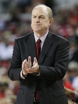 Mississippi State Bulldogs head coach Ben Howland reacts on the bench against the Georgia Bulldogs at Stegeman Coliseum. Mandatory Credit: Adam Hagy-USA TODAY Sports