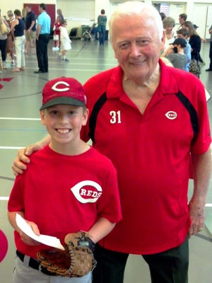 Cincinnati Reds Hall of Fame pitcher Jim O'Toole joins grandson William - a Guardian Angels School third-grader - who portrayed his grandpa for the May 28 Great American hero project at the school.