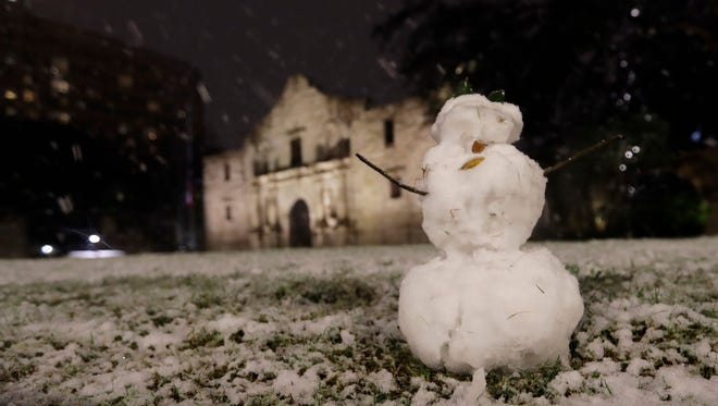 A small snowman stands in front of the Alamo as snow falls in downtown San Antonio, Thursday, Dec. 7, 2017. The National Weather Service said up to 2.5 inches of snow had been measured in the San Antonio area. The most recent comparable snowfall in San Antonio was in January 1987, when 1.3 inches of snow accumulated, but the most recent major snowfall was 13.2 inches in January 1985. (AP Photo/Eric Gay) ORG XMIT: TXEG108