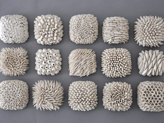 These micro tiles by Heather Knight at Element Clay Studio are inspired by natural textures.