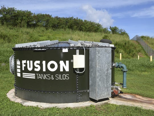 A groundwater testing tank sits near the Layon Landfill in Inarajan on Oct. 2. The tank draws natural groundwater from below the landfill, in order to monitor possible leakage of the double-sealed landfill cells. According to Ron White, landfill operations manager, the groundwater has never failed a test.