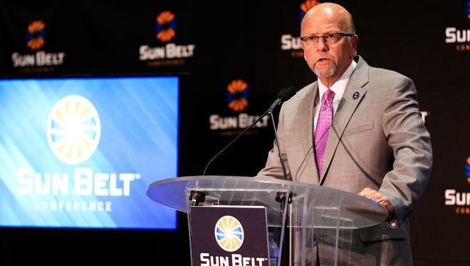 Sun Belt commissioner Karl Benson speaks last Monday at the league's football Media Day in New Orleans.