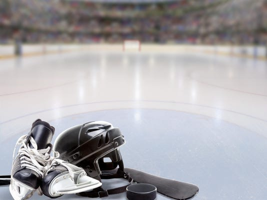 Dramatic Hockey Arena With Equipment on Ice and Copy Space
