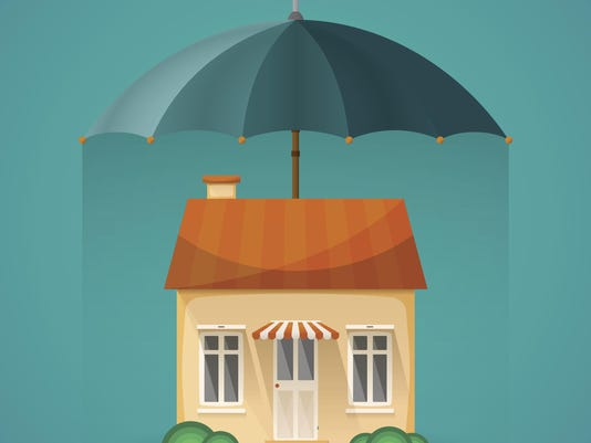 Real estate insurance concept with umbrella in flat style