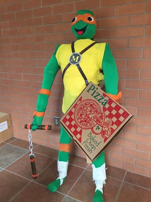 Thomas W. Wallace Jr. Middle School's entry, Ninja Turtle, won first place in Vineland's Scarecrow Challenge.