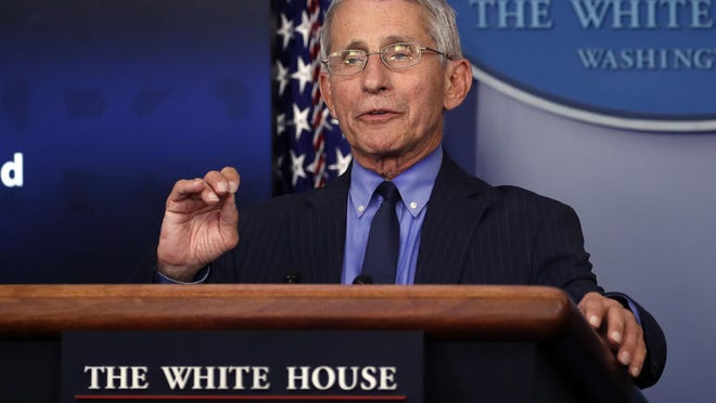 FILE - In this April 17, 2020, file photo, Dr. Anthony Fauci, director of the National Institute of Allergy and Infectious Diseases, speaks about the coronavirus in the James Brady Press Briefing Room of the White House in Washington. Fauci returns to Capitol Hill on June 23, at a fraught moment for the nation's pandemic response.