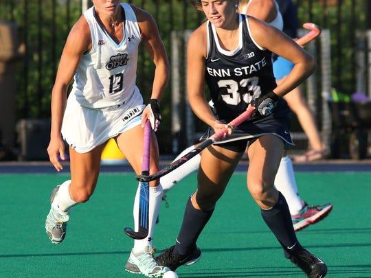 Penn State's Katie Dembrowski (33) against Old Dominion on Aug. 26, 2016. No. 18 Penn State defeated No. 20. Old Dominion 6-2. Photo/Craig Houtz