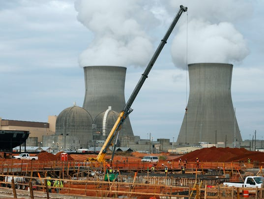 The containment vessel for a new nuclear reactor at the Plant Vogtle nuclear power plant is under construction in Augusta, Ga. Some of the world's top climate scientists say wind and solar energy will not be enough to head off extreme global warming. Click to enlarge. (Photo: John Bazemore, AP)