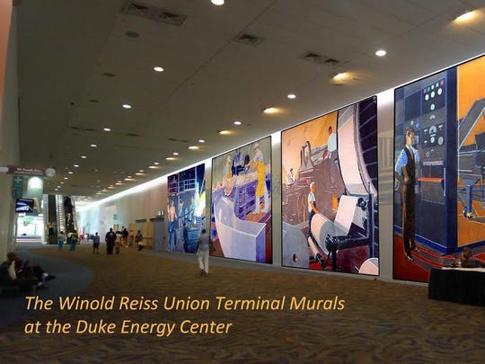 A rendering of what the murals would look like in Duke Energy Center.