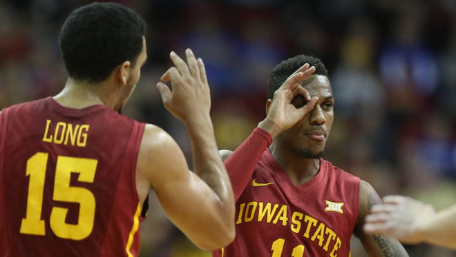 Iowa State's Monte Morris celebrates a three-pointer during an NCAA college basketball game against Drake on Saturday, Dec. 20, 2014, at Wells Fargo Arena in Des Moines, Iowa.