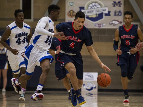 Las Vegas Findlay Prep's Skylar Mays drives down the court against Shadow Mountain in the first quarter during the Desert Challenge on Friday, Dec. 11, 2015 at Rancho Solano Preparatory High School in Scottsdale, Ariz.