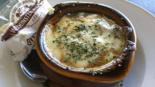 Eagle's Nest's  French onion soup with homemade croutons and melted cheese.