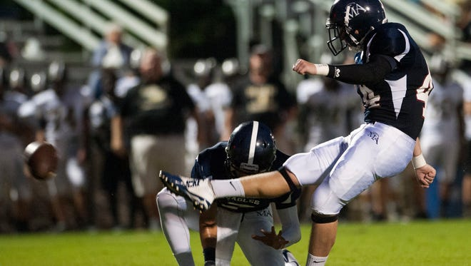 Montgomery Academy's Dylan Mills kicks a field goal against Beulah at the MA campus on Friday September 4, 2015 in Montgomery, Ala.