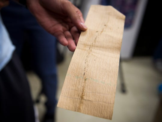 A paper used to catch mosquito eggs is shown at UT's Ellington Plant Sciences Building on Wednesday, July 12, 2017.