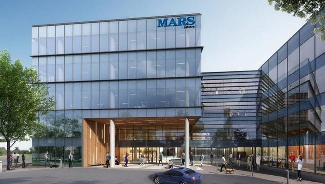 A rendering showing the two-building Mars Petcare headquarters planned at Ovation in Cool Springs.