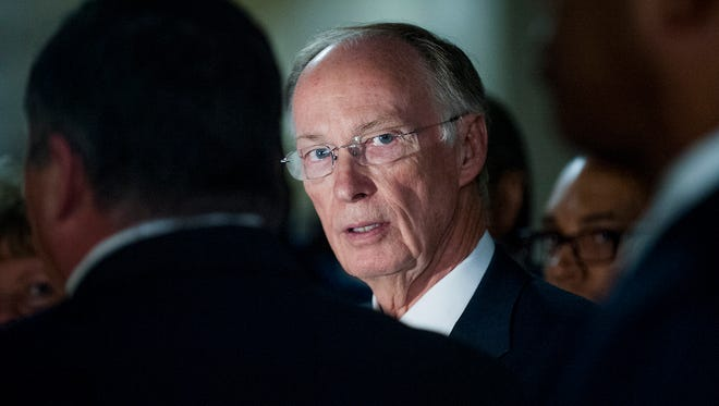 """Alabama Gov. Robert Bentley tours Tutwiler Prison for Women in Wetumpka, Ala., on Thursday, March 31, 2016.  In response to potential impeachment, he said, """"There is nothing illegal"""" in controversy with former staffer."""