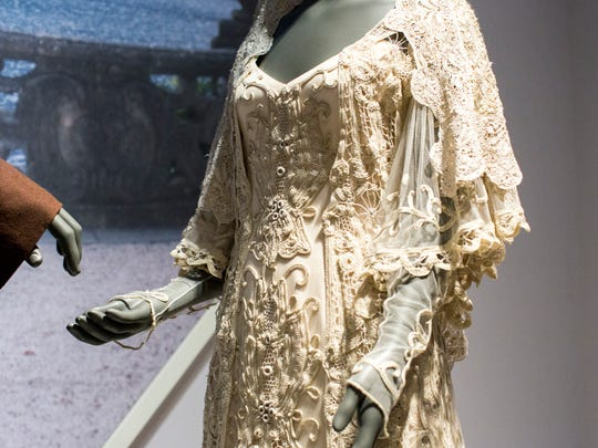 The wedding gown for Padme Amidala is on display at