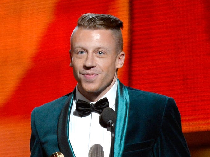 LOS ANGELES, CA - JANUARY 26:  Rapper Macklemore accepts the Best New Artist award onstage during the 56th GRAMMY Awards at Staples Center on January 26, 2014 in Los Angeles, California.  (Photo by Kevork Djansezian/Getty Images)