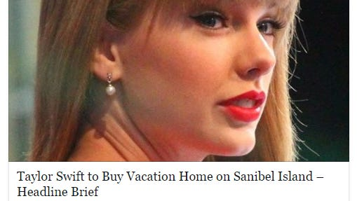 Screenshot of viral story that Taylor Swift is moving to Sanibel.