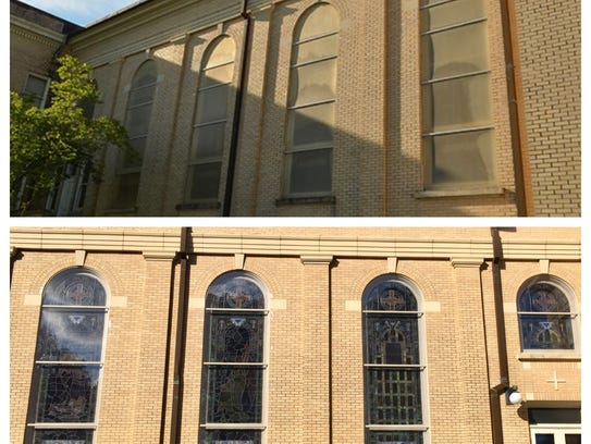 The 93-year-old stained glass-windows at First United Methodist Church in Lafayette shine through new Lexan plexiglass. The top photo shows what the windows looked like before the previous covering was removed. The bottom photo shows the windows in their new state.