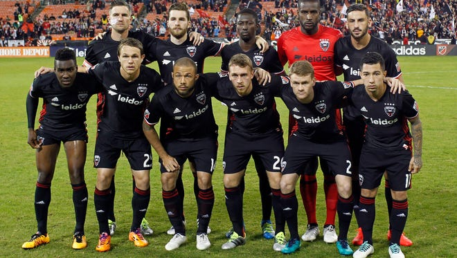 The starting eleven for D.C. United pose for a picture prior to their game against the Montreal Impact in a knockout round game in the 2016 MLS Playoffs at RFK Stadium.