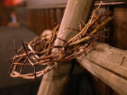 A cross with a crown of thorns at Christ Episcopal
