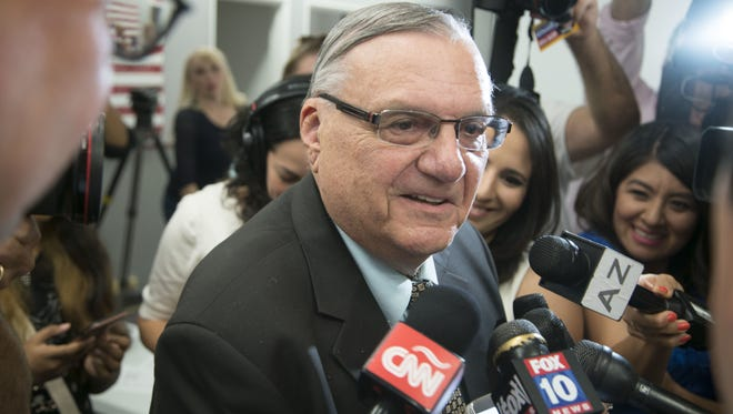 Federal prosecutors on Oct. 17, 2016, filed a proposed order to show cause as to whether Sheriff Joe Arpaio should be held in criminal contempt for his actions in a federal lawsuit against his agency.  Here, Arpaio speaks to media Aug. 30 at Arizona Republican Party headquarters.