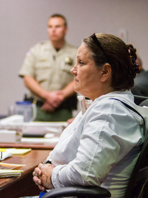 Defendant Vickie Sorensen listens to opening statements