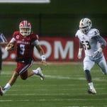 UL Ragin' Cajuns quarterback Jalen Nixon (6) runs with the football toward the end zone during an NCAA football game at Cajun Field against the ULM Warhawks in Lafayette, La., Saturday, Oct. 31, 2015.