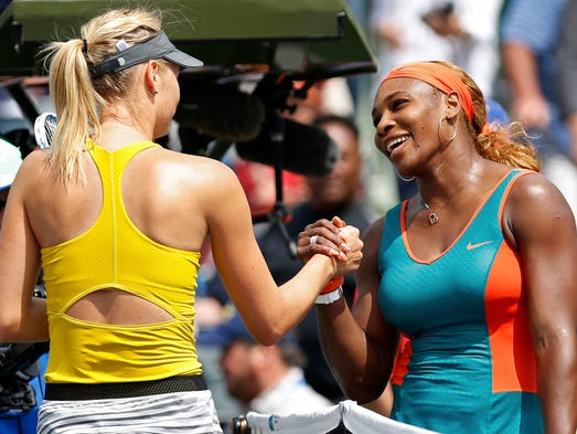 Serena Williams topped Maria Sharapova for the 15th consecutive time in the Sony Open.