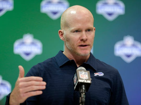 Buffalo Bills head coach Sean McDermott speaks during a press conference at the NFL Combine in Indianapolis, Wednesday, March 1, 2017.