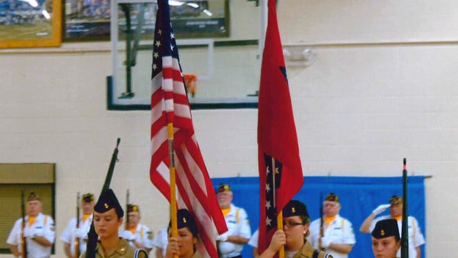 The 2015 Mountain Home High School ROTC Honor Guard presents the colors at last year's Veteran's Program.
