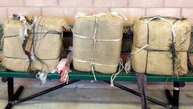 """U.S. Border Patrol agents working out of the Lordsburg Station seized 142 pounds of marijuana with a street value of $133,600 in the """"Boot Heel"""" region near the New Mexico-Arizona state line."""
