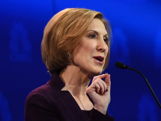 Carly Fiorina speaks during in a Republican Presidential Debate, Oct. 28, 2015 at the Coors Event Center at the University of Colorado in Boulder, Colo.