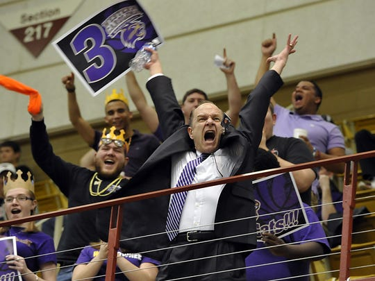 Western Caroluna University Chancellor David Belcher rallies students at a 2014 basketball game. Belcher was among 12 UNC system chancellors getting a pay raise.