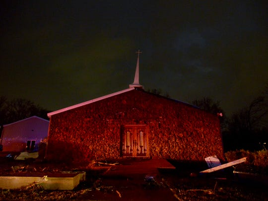 Falcon Road Baptist Church sands amongst storm damage after high winds passed through Selmer, Wednesday evening.