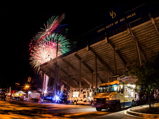 Fireworks explode over the University of Delaware athletics complex as for Newark's Independence Day celebration on Tuesday night.