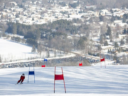 Anthony Selenske of Kronenwetter attempts a run during alpine skiing in the Badger State Games at Granite Peak in Wausau, Saturday, Jan. 23, 2016.