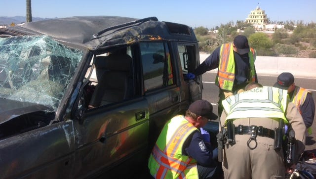 A single vehicle crash on the Loop 202 sent five children to the hospital
