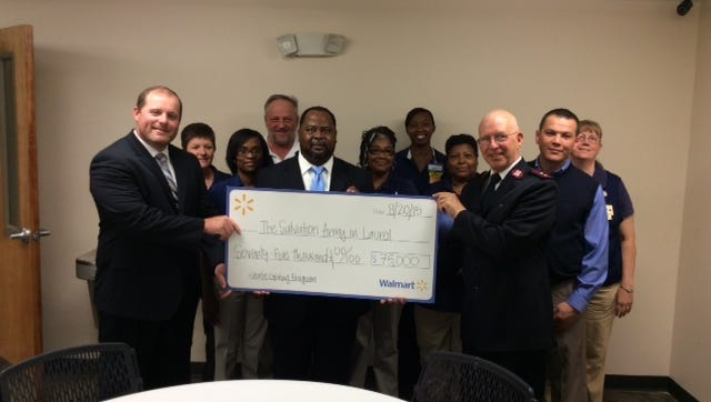 The Salvation Army in Laurel received a $75,000 contribution Thursday as a part of the Walmart Foundation's State Giving Program.