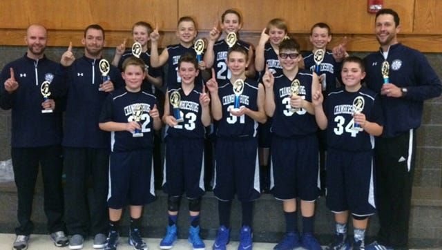 Chambersburg's 6th grade boys travel basketball team won its championship at the Red Lion Invitational Christmas Tournament. Team members included, front row, from left, Grant Hopple, Eli Shearer, Ian Stewart, James Lilley, Greg Cunha. Back row, coach Mark Zeger, coach Nick Bowling, Braden Zeger, Garrett Swatsburg, Andon Martin, Parker Knepper, Dru Bowling and head coach Todd Shearer.