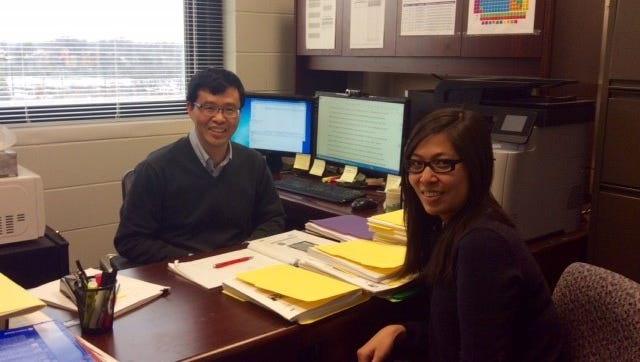 Drs. Ann Vuong (right) and Aimin Chen are authors of a new study from the University of Cincinnati on the effect of pre-birth chemical exposure on the young brain.