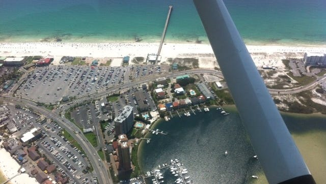 Rhonda Chavers of Milton took this photo over Pensacola Beach a few months ago while pursuing her pilot's license.
