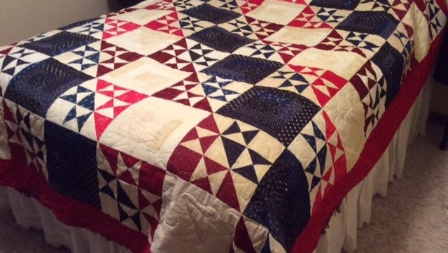 "The Danby Community Quilters have a Quilt of Valor called ""My Country"" and are giving it to the American Legion Post 221 on Danby Road to raffle as a fundraiser."