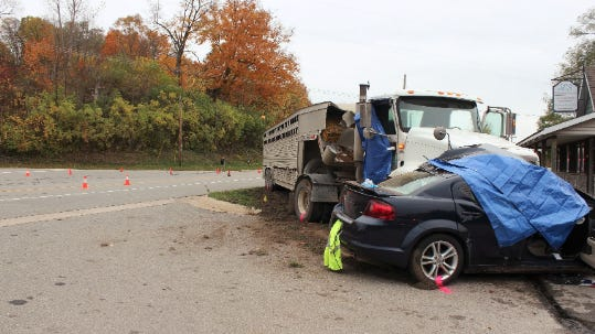 A 71-year-old woman was killed in a two-vehicle crash Wednesday morning, Oct. 14, at the intersection of Hawley and West Bluewater highways in Boston Township, according to the Ionia County Sheriff's Office.