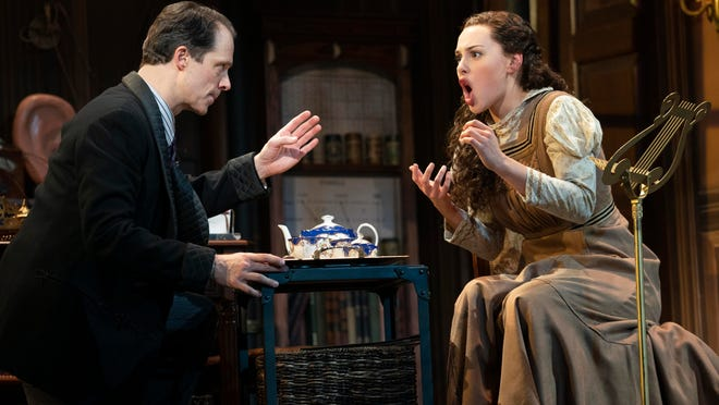 """Laird Mackintosh as Professor Henry Higgins and Shereen Ahmed as Eliza Doolittle in Lerner & Loewe's """"My Fair Lady,"""" which will be on stage at Wharton from Feb. 26-March 1."""